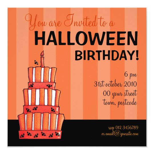 Orange Striped bats Cake Halloween Birthday Card