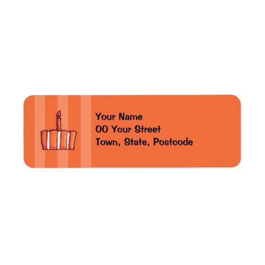 Orange Striped Cake Return Address Label