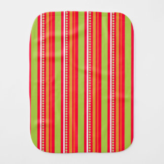 Orange Striped/Floral Reversible Baby Burp Cloths