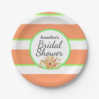 Orange Stripes and Flowers Bridal Shower Suite Paper Plate