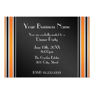 Orange stripes Business invitation