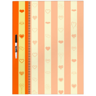 Orange Stripes Modern Heart Pattern Dry Erase Board