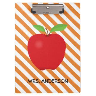 Orange Stripes, Red Apple Personalized Teacher Clipboard