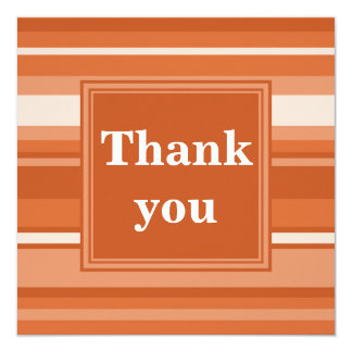 Orange stripes thank you card 13 cm x 13 cm square invitation card