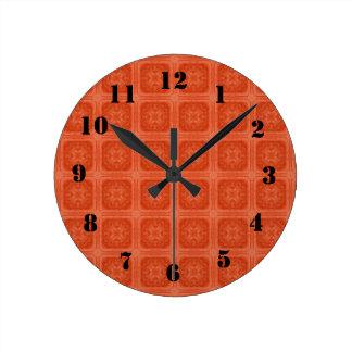 Orange stylish wood pattern clocks