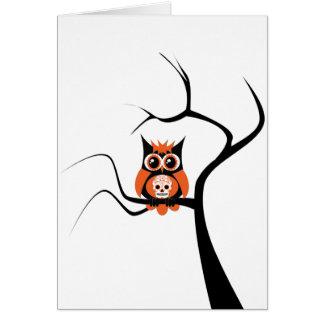 Orange Sugar Skull Owl in Tree Card