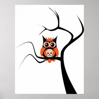Orange Sugar Skull Owl in Tree Poster