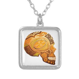 Orange Sugar Skull Skeleton - Desert Colors Custom Necklace
