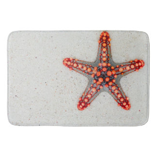 ORANGE SUMMER STARFISH ON BEACH SAND BATH MAT