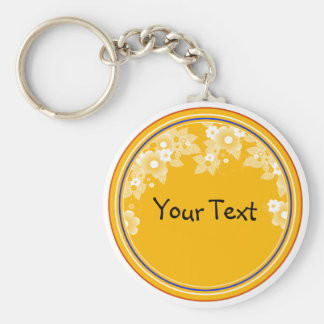 Orange summer with flowers basic round button key ring