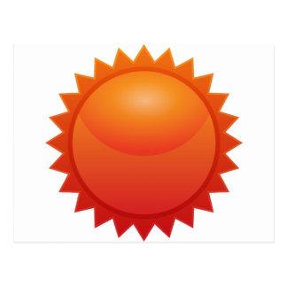Orange Sun Star Sticker Icon Postcard