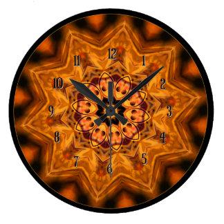 Orange Sunburst Mandala Wall Clock