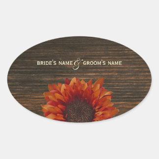 Orange Sunflower & Barnwood Wedding Sticker