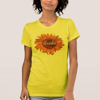 Orange Sunflower Bride Wedding Tee Shirt