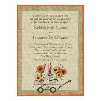 Orange Sunflower Country Wagon Wedding Card