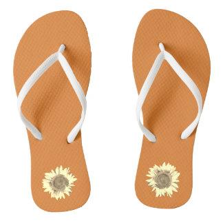 Orange Sunflower on Flip Flops