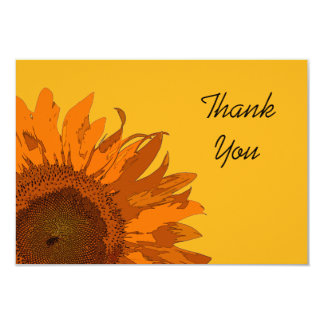 Orange Sunflower on Yellow Flat Thank You Notes 9 Cm X 13 Cm Invitation Card