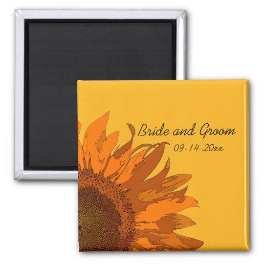 Orange Sunflower on Yellow Wedding Square Magnet