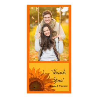 Orange Sunflower on Yellow Wedding Thank You Photo Greeting Card
