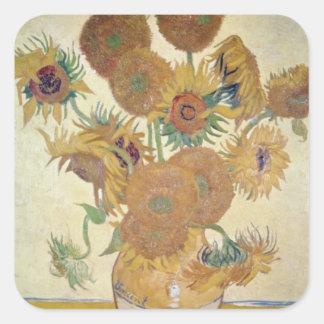 Orange Sunflowers, Vincent Van Gogh, Holland flowe Square Sticker