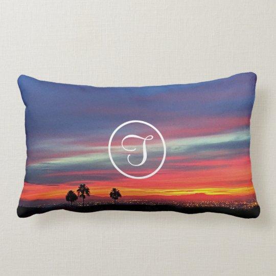 Orange sunrise photo custom monogram lumbar pillow