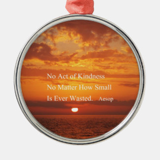 Orange Sunset Kindness quote Aesop Silver-Colored Round Decoration