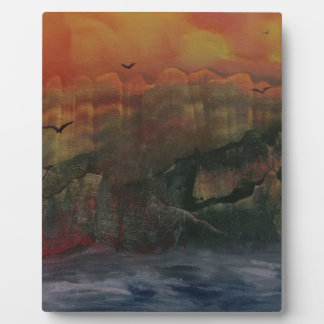 Orange sunset over the mountains plaque