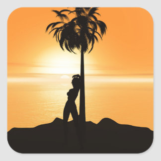 Orange sunset scenery stickers