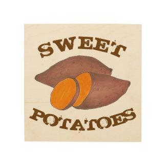 Orange Sweet Potatoes Yam Food Cooking Kitchen Wood Wall Decor