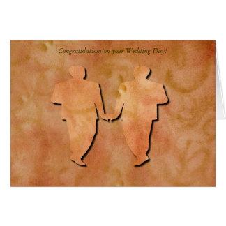 Orange Swirl Gay Wedding Card