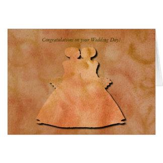 Orange Swirl Lesbian Wedding Card
