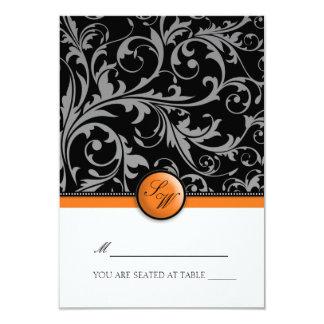 Orange Swirl Monogram Folding Tent  Place Card 9 Cm X 13 Cm Invitation Card