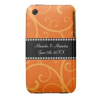 Orange swirls wedding favors iPhone 3 cases