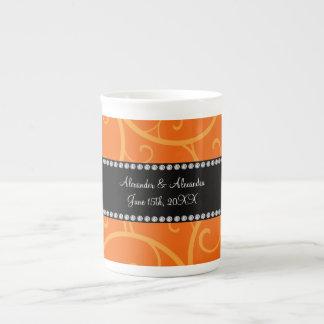 Orange swirls wedding favors porcelain mugs