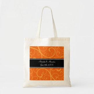 Orange swirls wedding favors tote bag