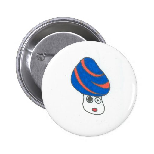 Orange Swirly Blue Cap Shroom Button