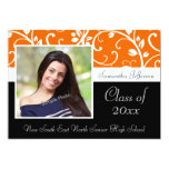 Orange Swirly Vine Photo Graduation Announcement