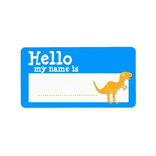 Orange T-Rex Hello My Name is Name Badge Blue Address Label