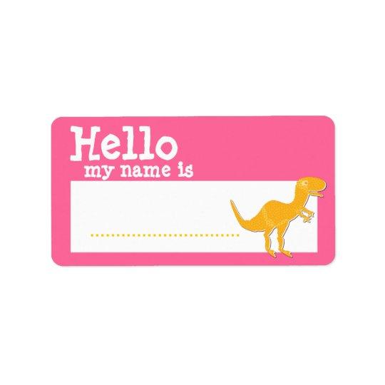 Orange T-Rex Hello My Name is Name Badge Pink Address Label