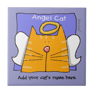 Orange Tabby Cat Angel Personalize Tile