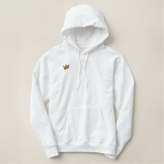 Orange Tabby Cat Embroidered Pullover Hoodie