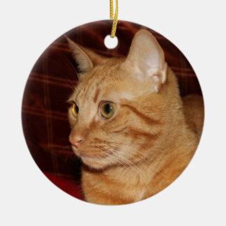 Orange Tabby Cat Face Profile Christmas Ornament