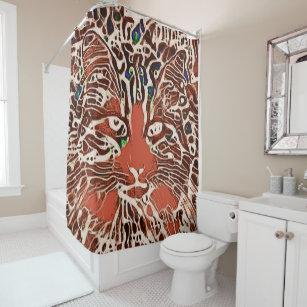 Orange Tabby Cat Lover Art Boho Hippie Shower Curtain