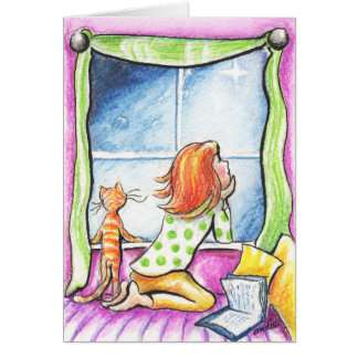 Orange Tabby Cat n Girl Window Christmas Card