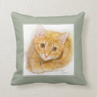 Orange Tabby Cat Painting Cushion