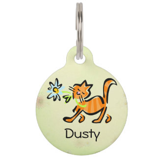 Orange Tabby Cat Pet Tag