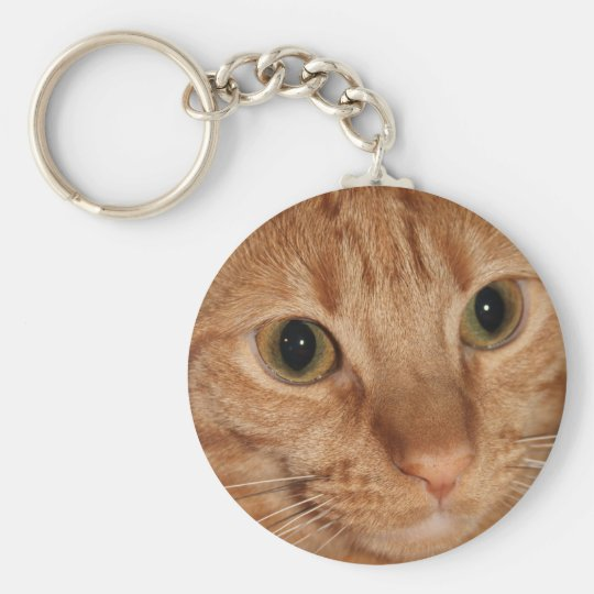 Orange Tabby Cat Profile Face Close up Basic Round Button Key Ring