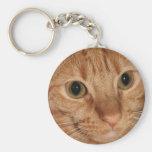 Orange Tabby Cat Profile Face Close up Basic Round Button Key Ring