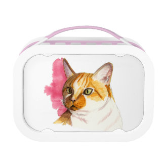 Orange Tabby Cat Watercolor Painting Lunch Boxes