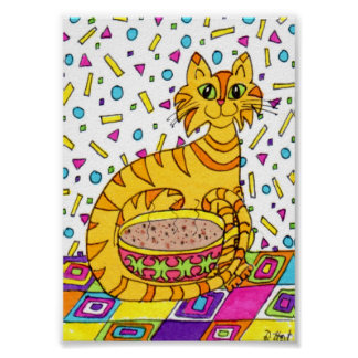 Orange Tabby Cat with Cappuccino Mini Folk Art Poster
